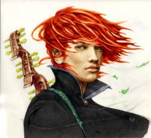 Kvothe en su etapa teenager de músico rebelde.
