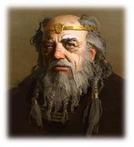 """Simidh Forgebrune, apodado """"El Gris"""" o """"El Viejo"""", uno de los personajes más carismáticos de la aventura."""