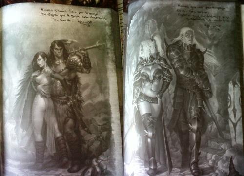 Dedicatorias y firmas de M K Ru-Mor, ilustradora de primera calidad de La Marca del Este. Nótese a Conan y Bélit, mis favoritos :D