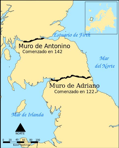 Ubicación de los muros fronterizos de Adriano y Antonino, en tierra de pictos.