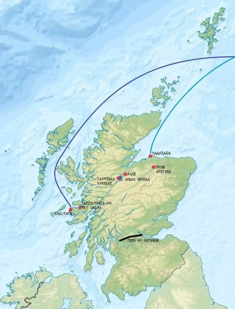 Mapa con TODAS las localizaciones citadas de la aventura, en la antigua Escocia.