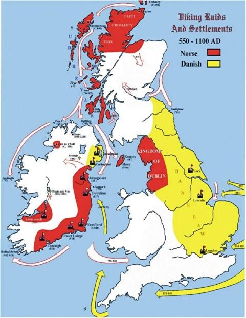 Territorios y fronteras noruegas y danesas en las Islas Británicas.