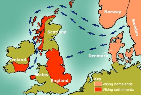 Rutas de navegación vikingas hacia los asentamientos de Inglaterra.