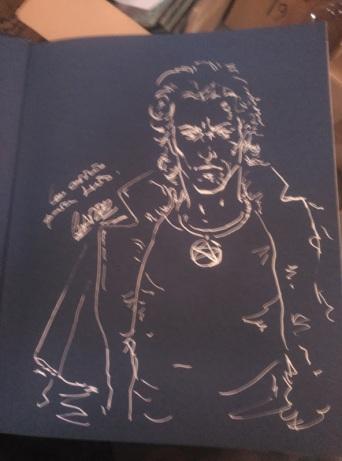Charro me dejó esto dibujado en la contraportada del Dresden Files y compartió la foto en su G+ y yo por poco no pierdo el libro...